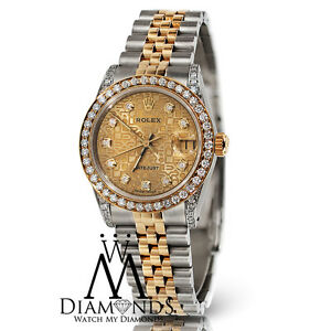 37730d461de7 Ladies Rolex Datejust 26mm 2 Tone 18K Gold   SS Jubilee Diamond Dial ...