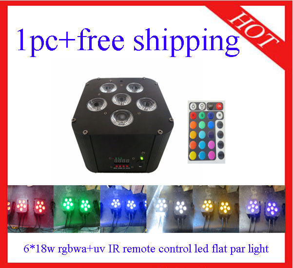 1pc 618W RGBWA+UV IR Remote Control Led Flat Par Light Led Par64 Free Shipping