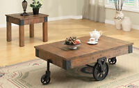Cottage Rustic Distressed Brown Wagon Accent Coffee Table W/ Wheels End Table