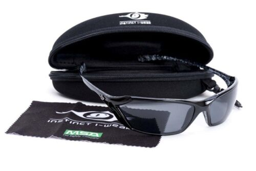 MSA SAFETY Glasses Gloss Black Marbled Frame Smoked Lens Sunglasses Specs RRP$90
