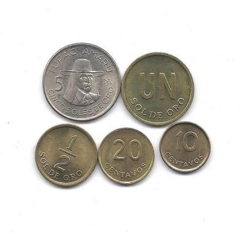 PERU 1975-1977 SOLES DE ORO FIVE HIGH GRADE COINS SET