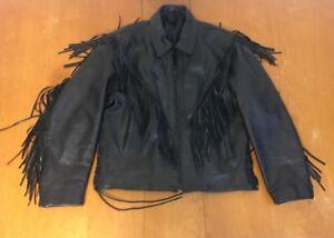 Motorcykel Vintage Biker Fringe Black Leather Jacket H6wxqZI6S