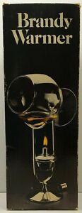 "Vintage Silverplated Brandy Warmer w Crystal Snifter 7"" Leonard Silver #618 1979"