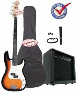 Electric-Bass-Guitar-Pack-with-20-Watts-Amp-Bag-Strap-and-Cable-Sunburst