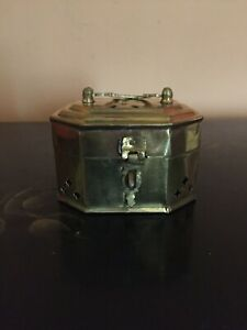 Vintage-Brass-Cricket-Box-w-Hinged-Lid-Made-in-India-Trinket-Box