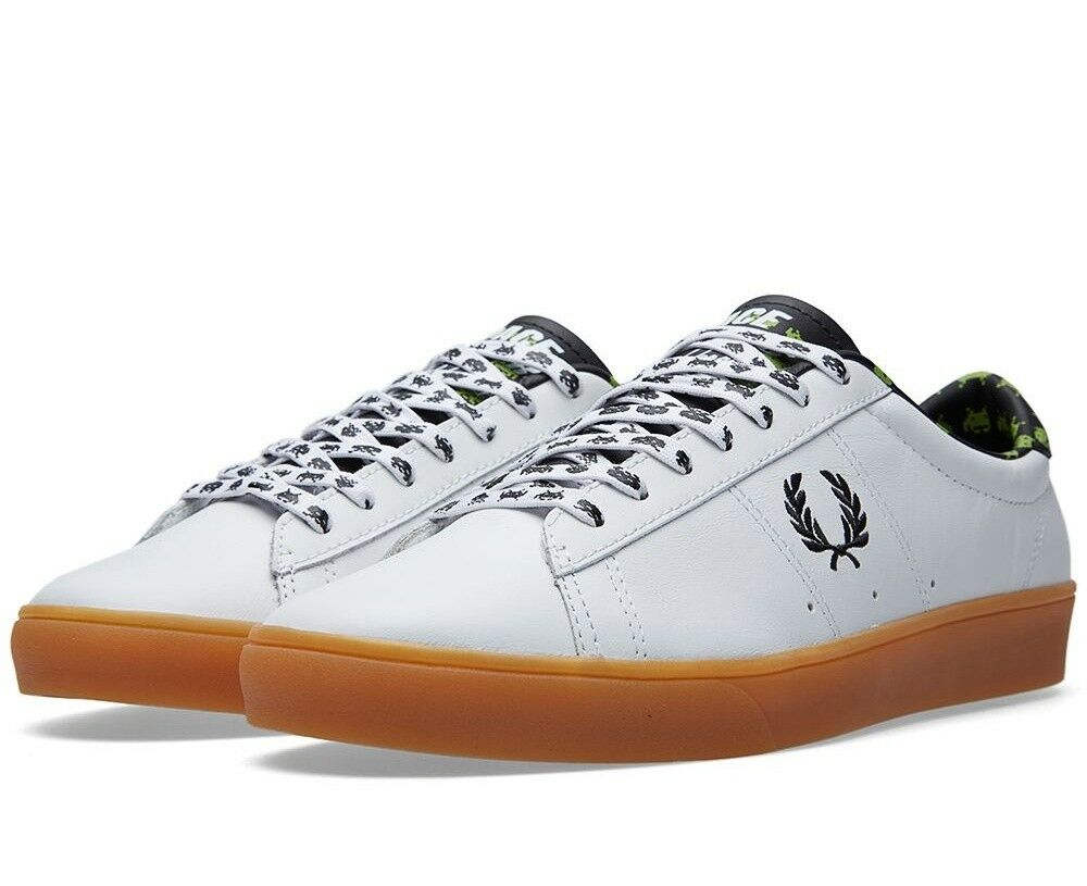 Fred Perry X Space Invaders Men's Spencer Leather Trainers Shoes --- SB6008-100