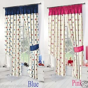 Childrens Kids Stars Thermal Blackout Curtains Bedroom Curtains Pink