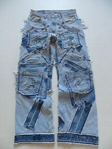 Levi-039-s-Designer-Jeans-Hose-W-33-L-34-Schwer-MEGA-Vintage-Patchwork-Unikat