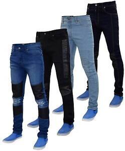 Hommes-G72-braguette-zippee-stretch-skinny-slim-biker-denim-jeans-coton-dechire-pantalon
