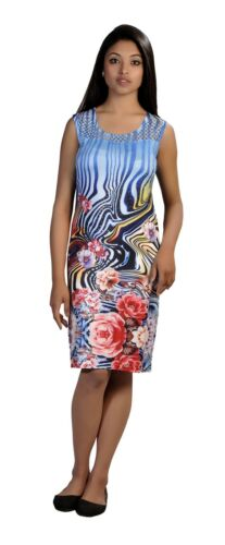 WOMEN/'S SUMMER SLEEVELESS DRESS WITH COLORFUL FLOWER PRINT