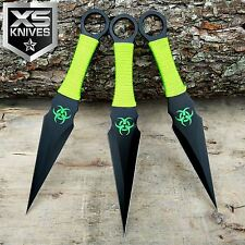 "3PC 9"" ZOMBIE Survival Naruto KUNAI Ninja Throwing Knives COMBAT Dagger w/Sheath"