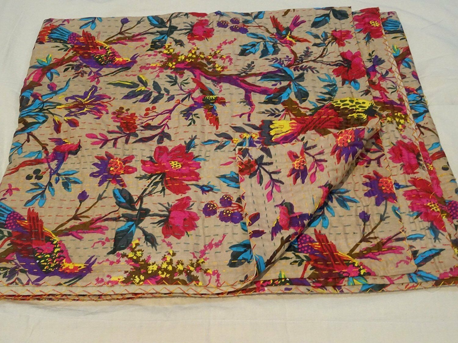 Bed Cover, King Kantha  Bird Print King Size Kantha Quilt Wage Kantha Blanket,