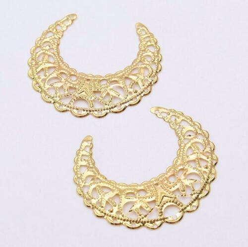 20pcs Filigree moon Wraps Connectors Metal Crafts Decoration Jewelry Making DIY