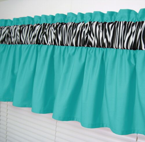 3 inch wide rod pocket ~ Solid Turquois /& Zebra Window Curtain Valance Topper