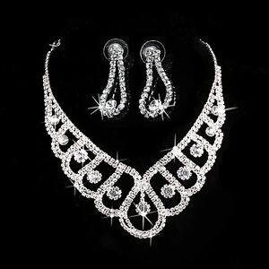 Luxury-Wedding-Bridal-Party-Crystal-Rhinestone-Necklace-Earring-Prom-Jewelry-Set