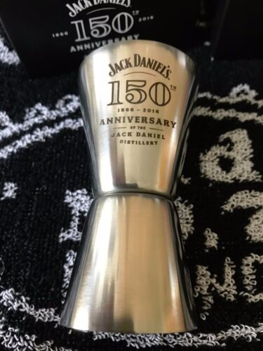 4 JACK DANIELS 150th  ANNIVERSARY GLASSES STAINLESS 15OTH SHOT MEASURES BNIB