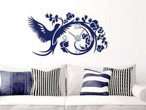 Details zu Wandtattoo Uhr romantische Wanduhr Vogel mit Blumen für Ihr  Wohnzimmer