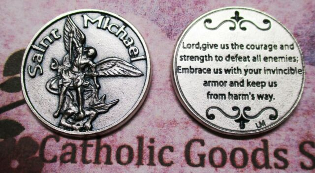 Saint St  Michael - Lord, Give us the Courage   - Silver tone Pocket  Token-Coin