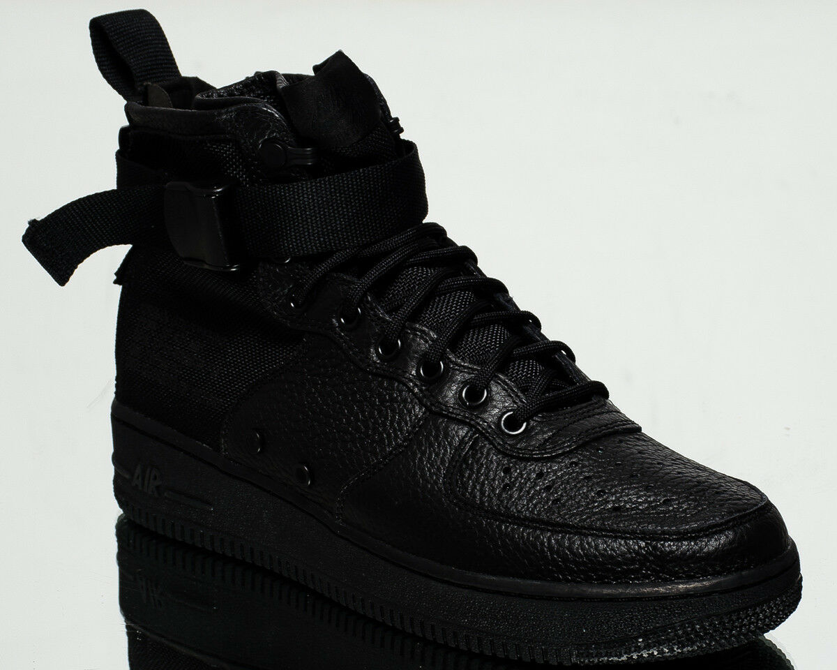SF Nike Air Force 1 Mid Tenis Estilo de vida vida de AF1 de Hombre Nuevo Todo Negro 917753-005 6cc2f4