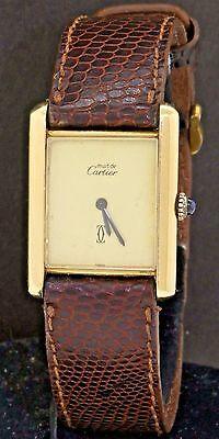 Cartier Paris vermeil 18K/Sterling silver mechanical men's watch w/ creme dial