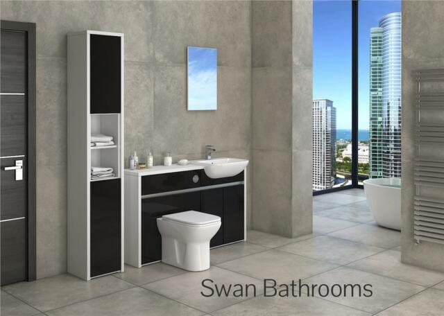 WHITE / BLACK GLOSS BATHROOM FITTED FURNITURE WITH TALL UNIT 1700MM