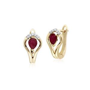 Gemondo-9ct-Oro-Giallo-Rubino-E-Diamante-Foglia-Orecchini-Leverback