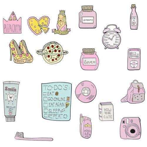 Creative Sweet Pink Cartoon Candy Movie Ticket Phone Enamel Brooch Badge Pins