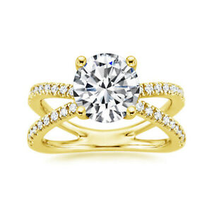 1.83 Ct Round Cut Moissanite Anniversary Superb Ring 18K Real Yellow Gold Size 4