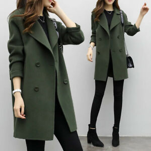5d63cfef4e9eb New Korean Womens Wool Jacket Double-breasted Trench Outerwear Coat ...