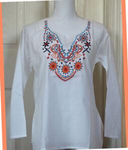 Multi-Color-Embroidered-White-Color-Cotton-Tunic-Top-Kurti-from-India-Small