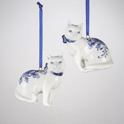 ADLER SET OF 2 PORCELAIN DELFT BLUE SITTING CAT CHRISTMAS ORNAMENTS KURT S