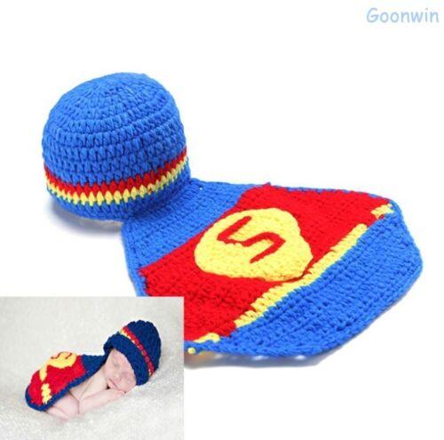 Neugeborene Baby Knit Strick Fotoshooting Kostüm Superman Mütze Mantel
