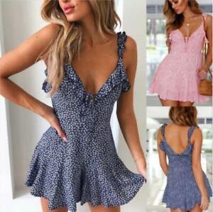 Women-Boho-Floral-Chiffon-Summer-Party-Evening-Beach-Short-Mini-Dress-Sundress