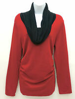 United States Sweaters Colorblock Cowl Neck Long Sleeve Top Women's Large