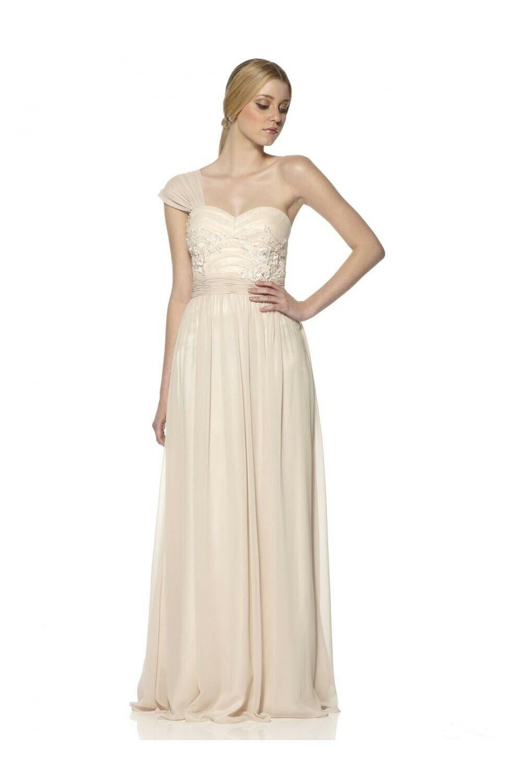 ny med etiketter Storlek 12 RRP Dynasty Nude One Shoulder Floral klänning