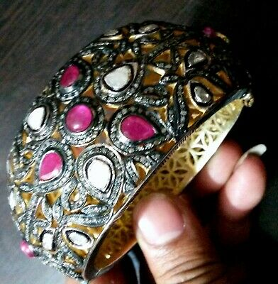 Natural Ruby Gemstone Polki Diamond 925 Sterling Silver Ring In Victorian Style