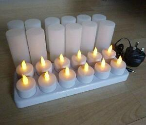 12 led flickering rechargeable tea lights candle set wax for Luci a led calde