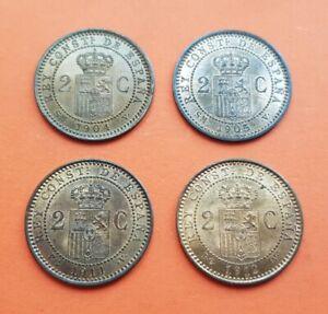 4-monedas-x-2-CENTIMOS-1904-1905-1911-1912-ALFONSO-XIII-BRONCE-KM-722-732-Espana
