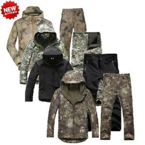 0d23177df4a47 Shark Skin Soft Shell Mens Tactical Camo Military Hunting Fleece ...