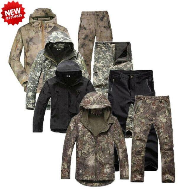 New Men/'s Hunting Camouflage Clothing Waterproof Windproof Hooded Jacket /& Pants