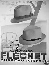 PUBLICITÉ 1936 CHAPEAU B.FLÉCHET CHAPEAU PARFAIT - ADVERTISING