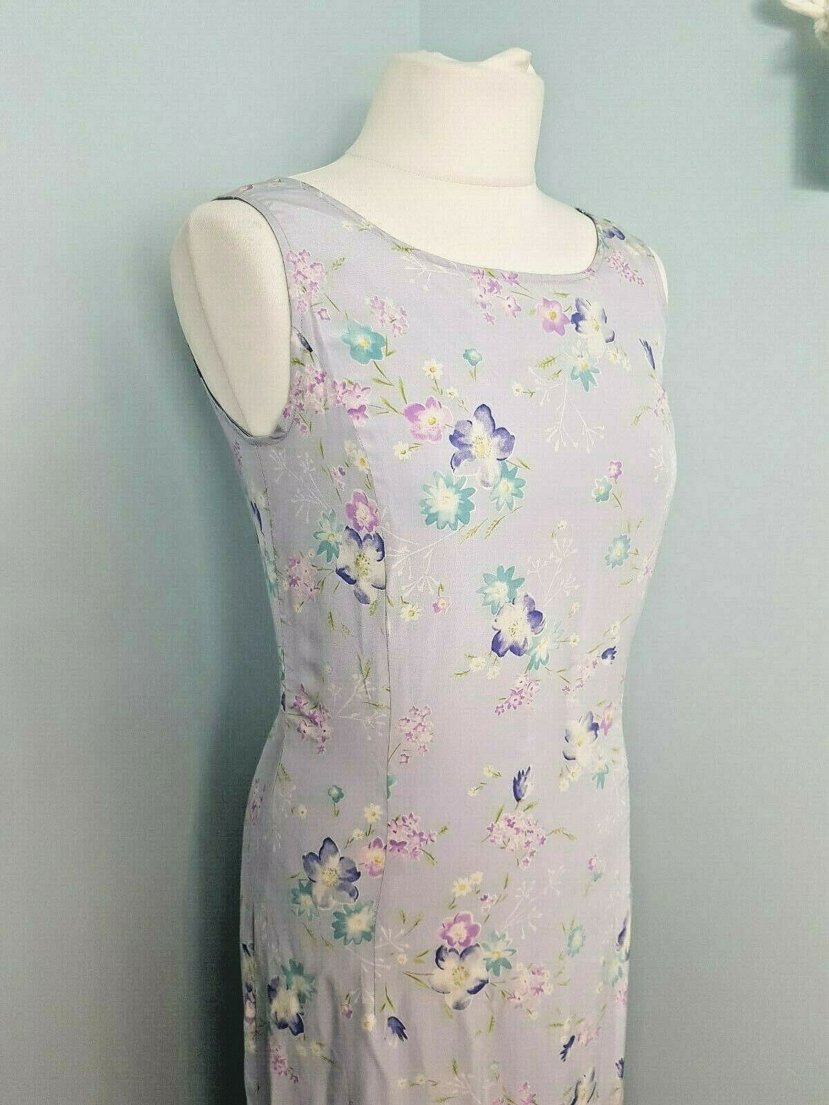 Vintage Laura Ashley Dress Gown 100% Silk lila Lilac Floral 8 NWT