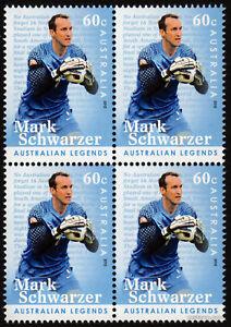 2012-Australian-Legends-Mark-Schwarzer-SG3703-Block-of-Four-MUH-Stamps-Soccer