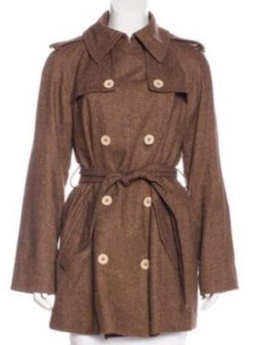 DOLCE & GABBANA 42 6 8 Brown Herringbone Wool Coat