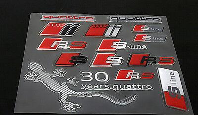 1 Set 3D Epoxy Car Stickers Gecko RS S Line Quattro Window Door Decal for Audi