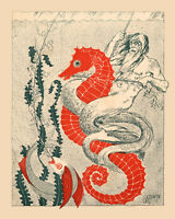 Merman Creature Riding Red Seahorse Fish Ocean Sea 16x20 Vintage Poster Free S/h