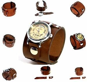 Brown-Leather-Wrist-band-Bracelet-with-without-watch-Steampunk-GOTHIC-Mechanical
