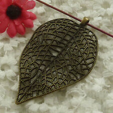 free ship 18 pieces bronze plated leaves pendant 82x49mm #2982