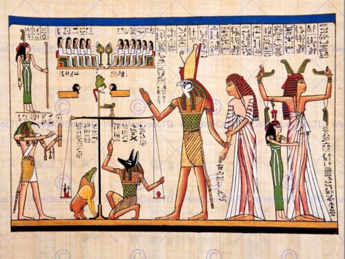 PAINTING ANCIENT EGYPTIAN HEIROGLYPHICS HORUS THOTH ANUBIS MURAL POSTER BMP10851