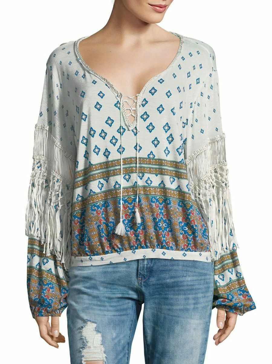 Free People Weiß Macra Maze Me Fringe Top-S- MSRP